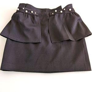 Zara peplum basic skirt black , pearls
